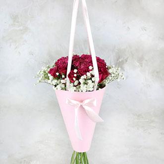 17 красных роз в конусе «Монтана»